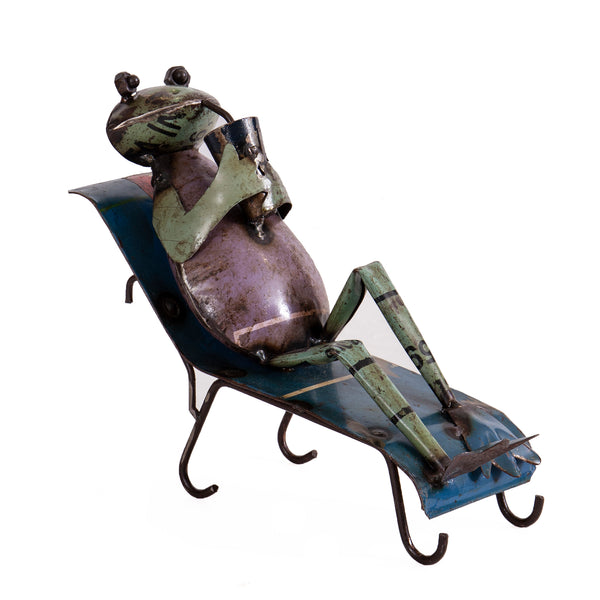 Recycled Iron Frog on a Sunbed