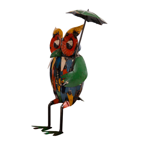 Recycled Iron Owl with Umbrella