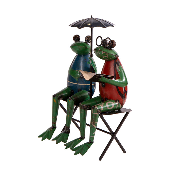 Recycled Iron Frog Couple with Book