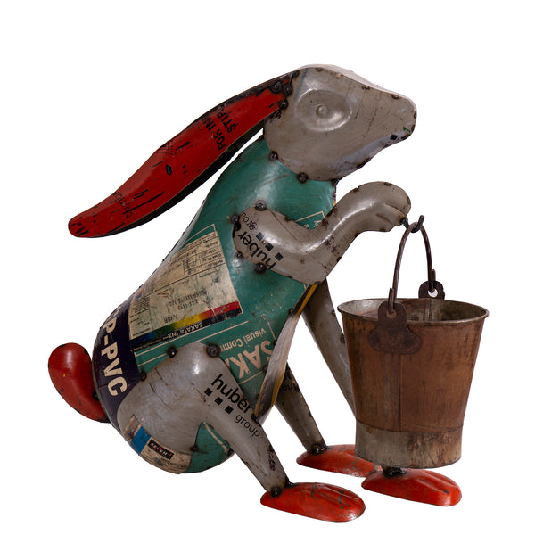Recycled Iron Rabbit with Bucket