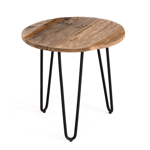 Tall Reclaimed Wood & Metal Side table