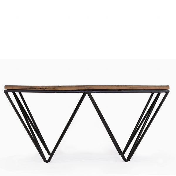 Reclaimed Wood Coffee Table with Metal Geometric Frame