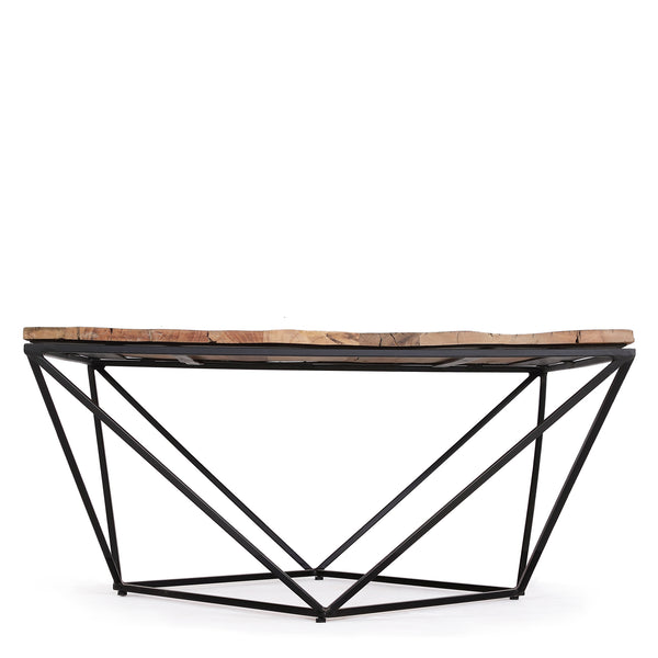 Large Reclaimed Wood Square Coffee Table with Metal Geometric Frame
