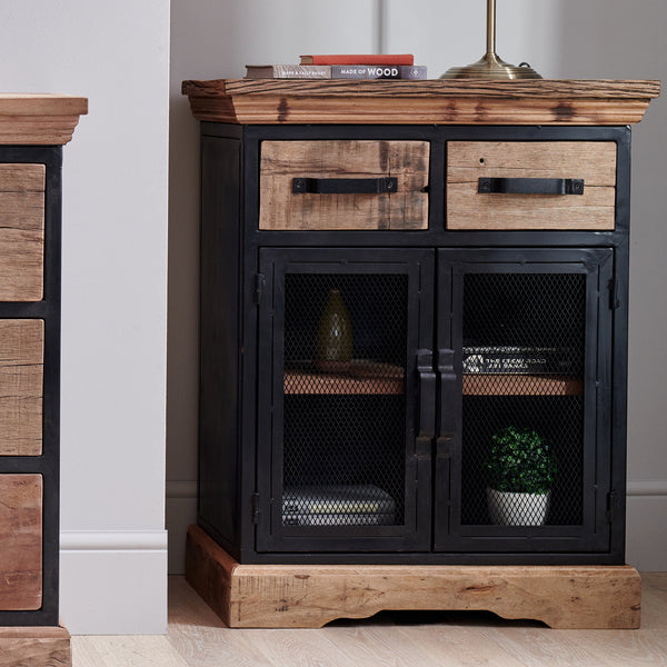 2 Door Reclaimed Wood Cabinet With Mesh Metal Doors