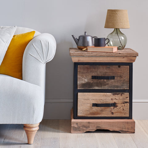 Reclaimed Wood & Metal 2 Drawer Side Table