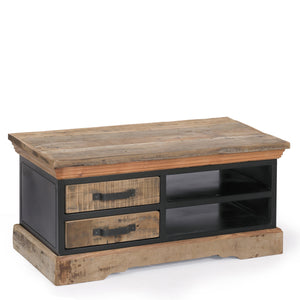 Reclaimed Wood & Metal 2 Drawer Coffee Table