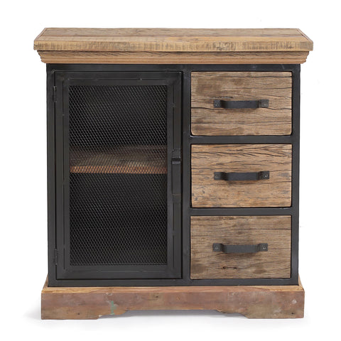 Reclaimed Wood 3 Drawer Cabinet with Mesh Metal Door