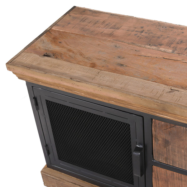 2 Drawer Reclaimed Wood & Metal TV Unit With Mesh Doors