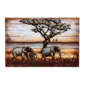 3D African Elephant Family Metal On Wood