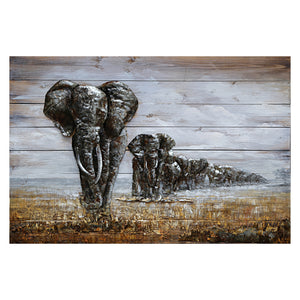 3D Metal Elephant Family On Wood