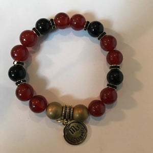 Agate, Onyx and Gold Hematite Bracelet with Zodiac Charm