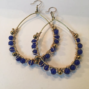 Tear Drop Wire Wrapped Beaded Earrings