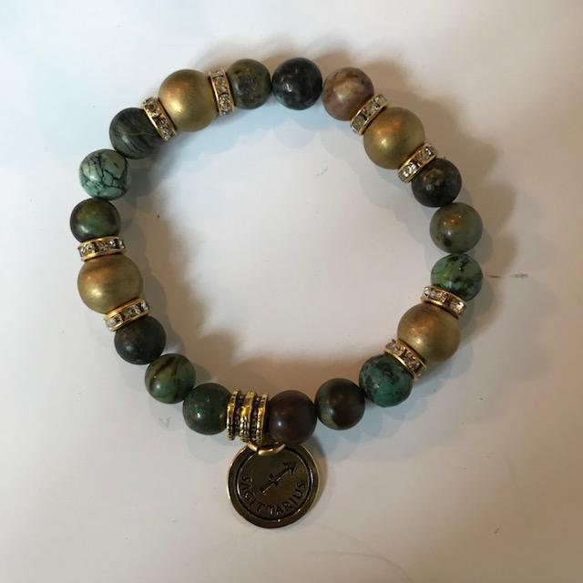 Jade, African Turquoise and Gold Hematite Bracelet with Zodiac Charm