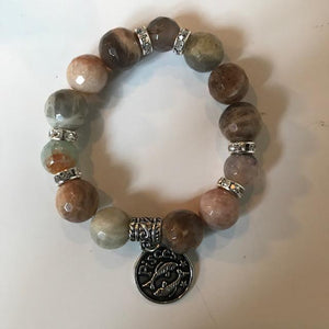 Moonstone and Agate Bracelet with Zodiac Charm