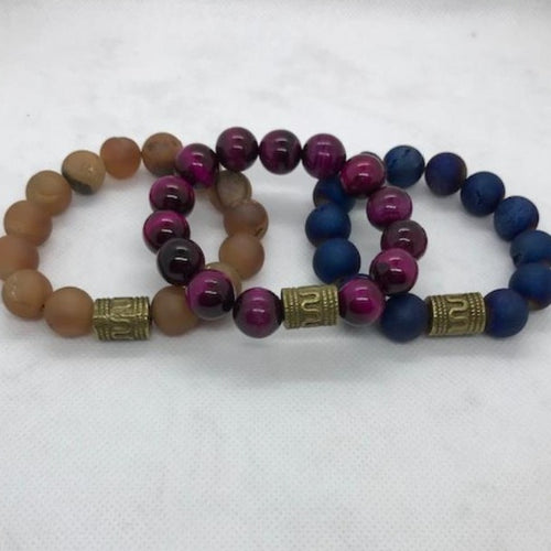Men's Natural Stone Bracelet with 12MM Stones and Egyptian Focal Point