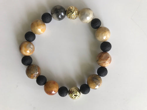 Picture Jasper and Lava Beads Bracelet