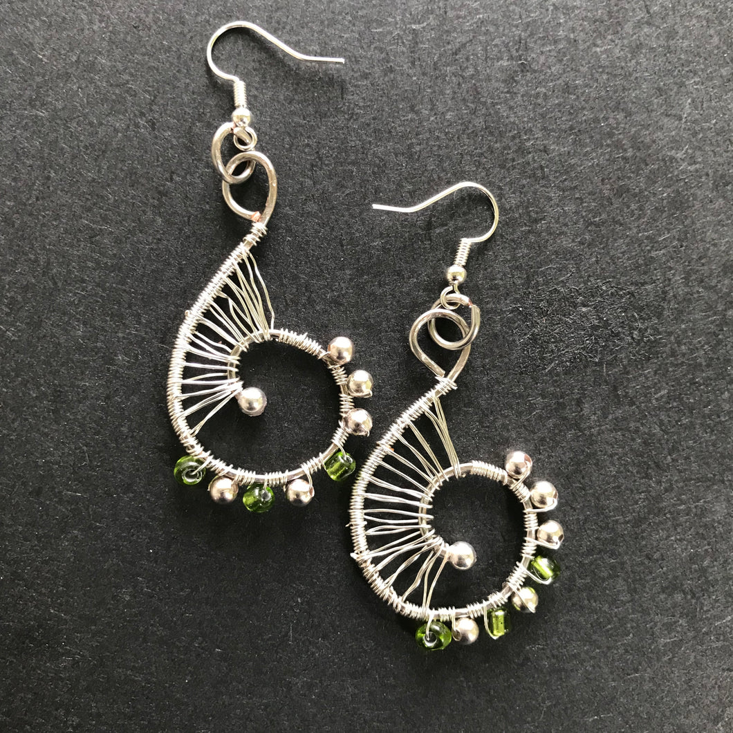 Silver Coated Copper Earrings with Glass Beads