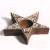 Wooden Block Tea Candle Holder - Star
