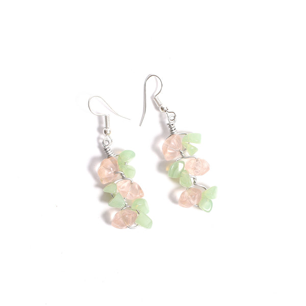 Glass Beads Earrings - Green and Pink