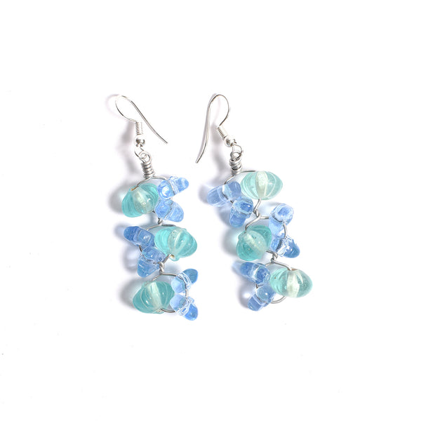 Glass Beads Earrings - Blue and Green