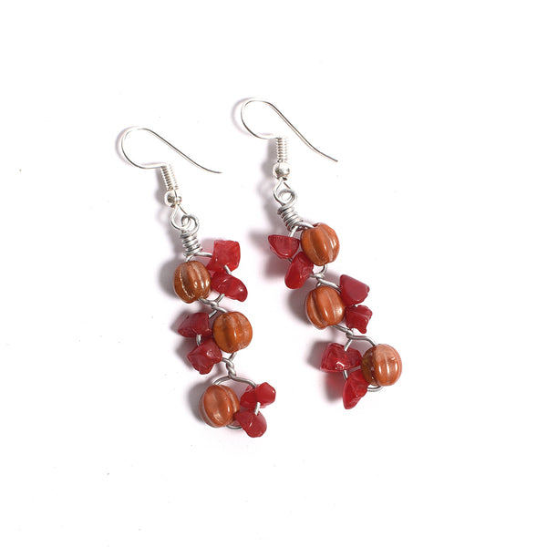 Glass Beads Earrings - Red and Orange