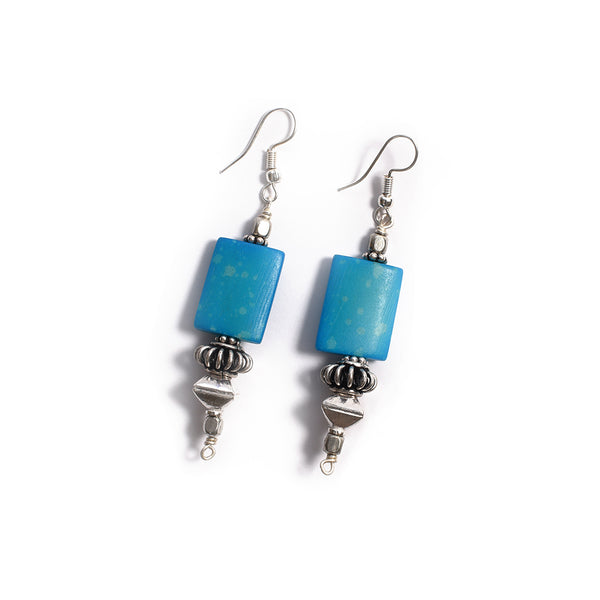 Bone Earrings - Blue