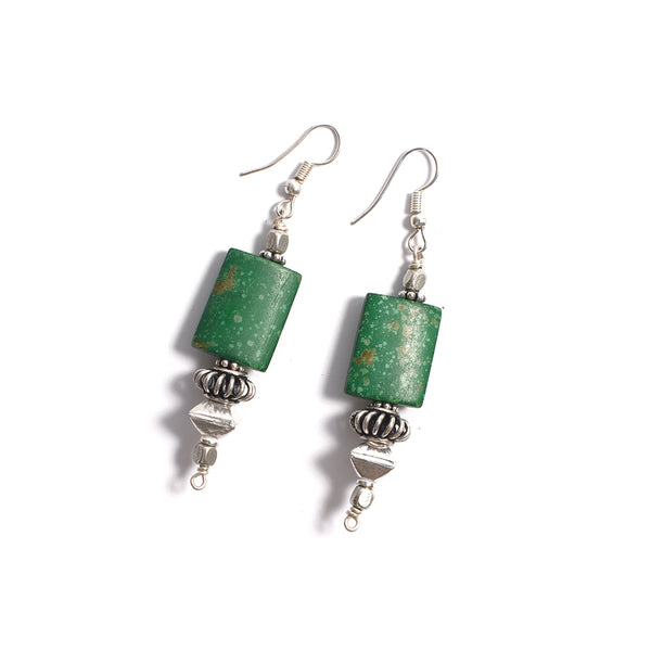 Bone Earrings - Bottle Green