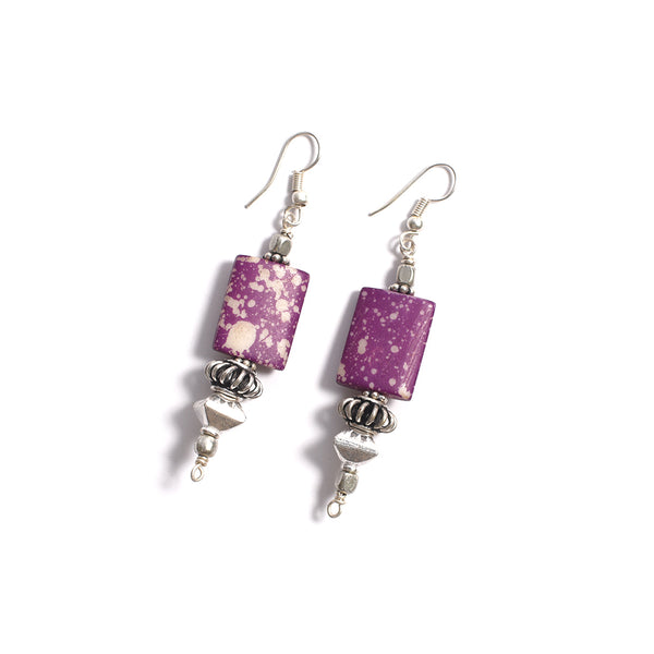 Bone Earrings - Purple