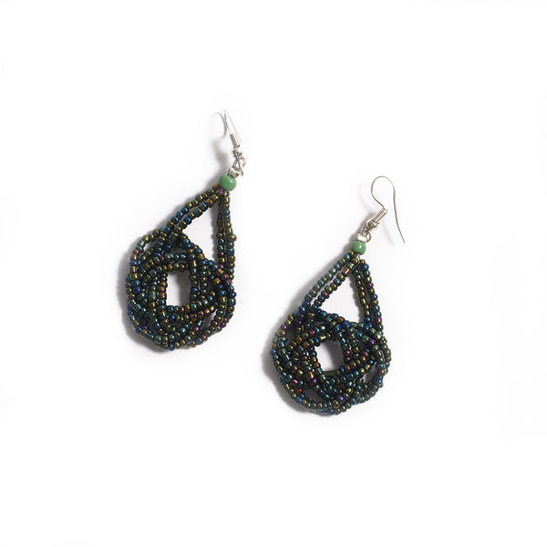 Beads earrings - Metallic Green