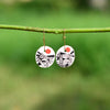 Hand painted Clay earrings - Black and White