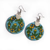 Ceramic Blue Pottery Earrings - Floral Disks