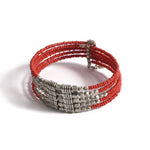 Metallic Red Beaded Bracelet