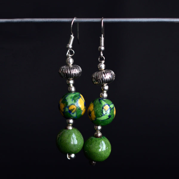Ceramic Blue Pottery Earrings - Green