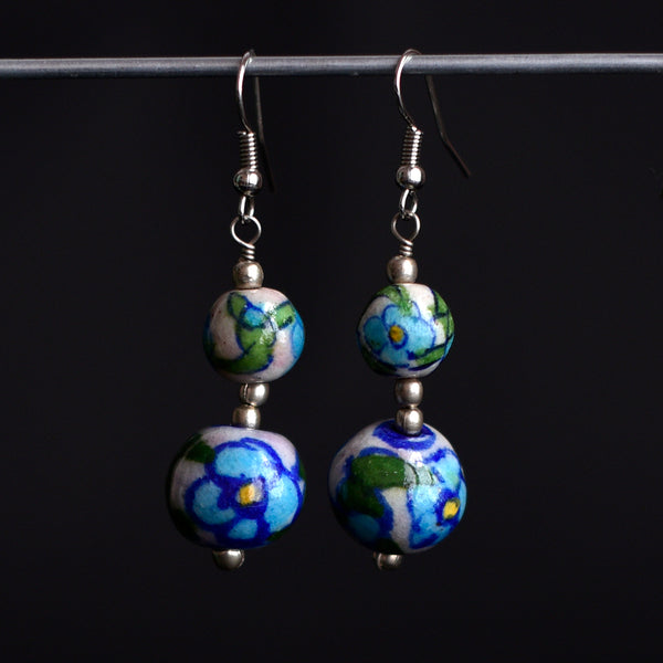 Ceramic Blue Pottery Earrings - Floral