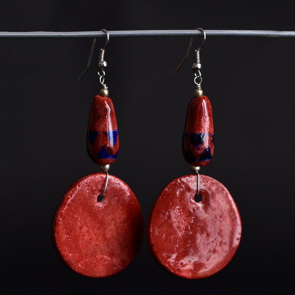 Ceramic Blue Pottery Earrings - Red Disk