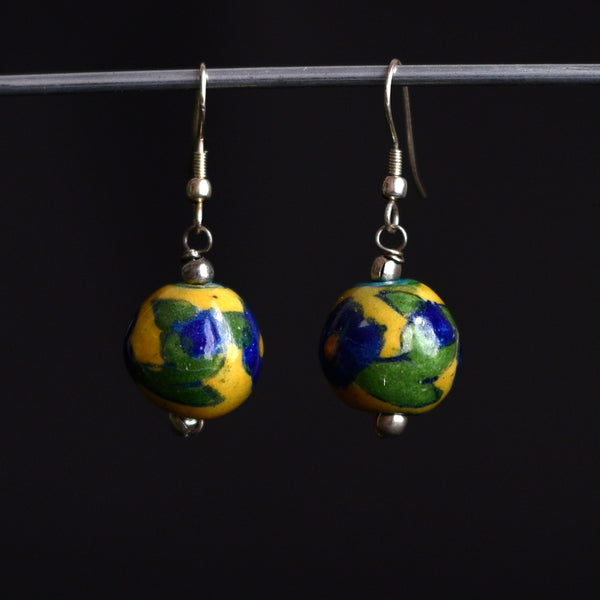 Ceramic Blue Pottery Earrings - Yellow Floral