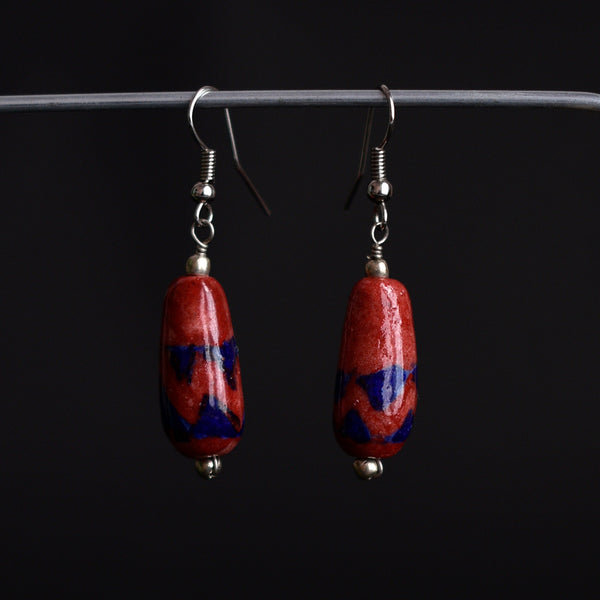 Ceramic Blue Pottery Earrings - Brick Red