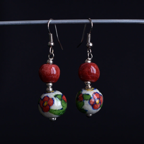 Ceramic Blue Pottery Earrings - Floral Red
