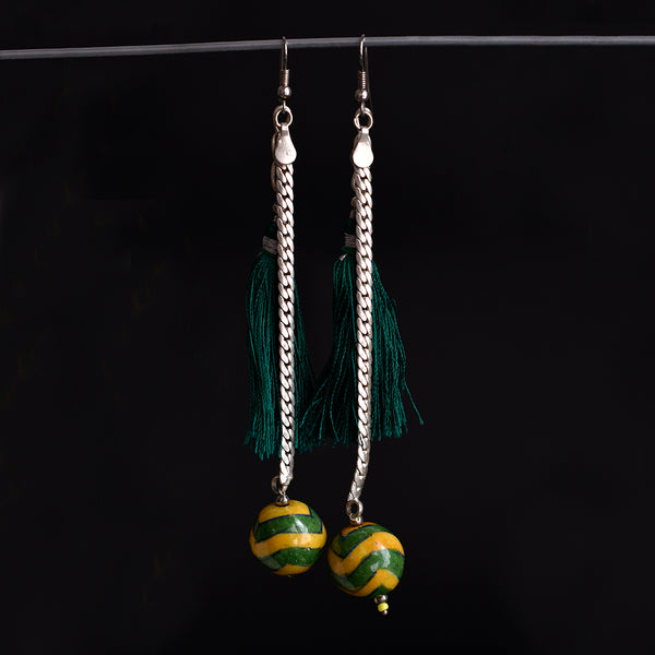 Ceramic Blue Pottery Earrings - Stringed Yellow Beads