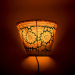 Hand-painted Leather Lampshade - Blue