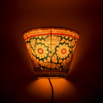 Hand-painted Leather Lampshade - Red and Blue