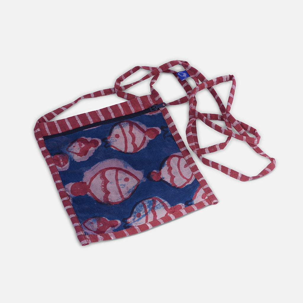 Kid's Sling Bag - Fish Block Print