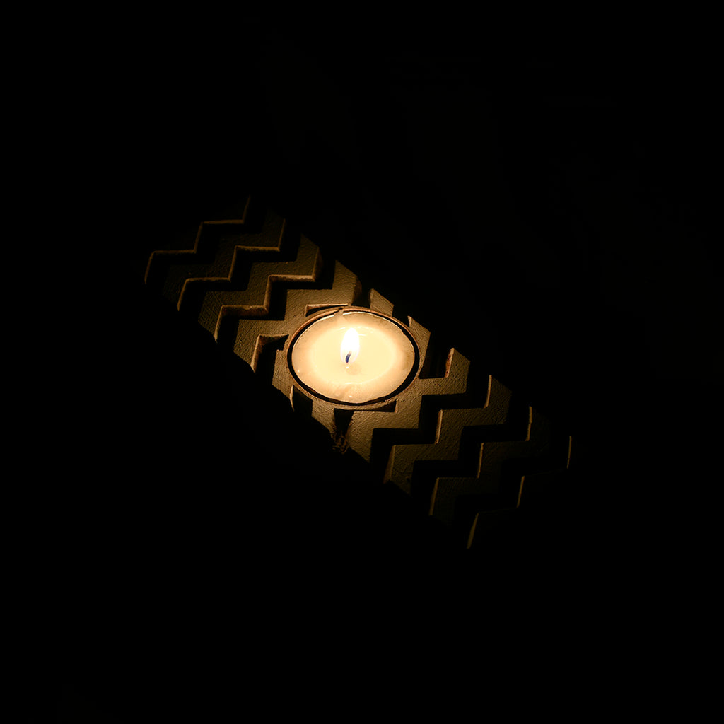 Wooden Block Tealight Candle Holder - Chevron Pattern