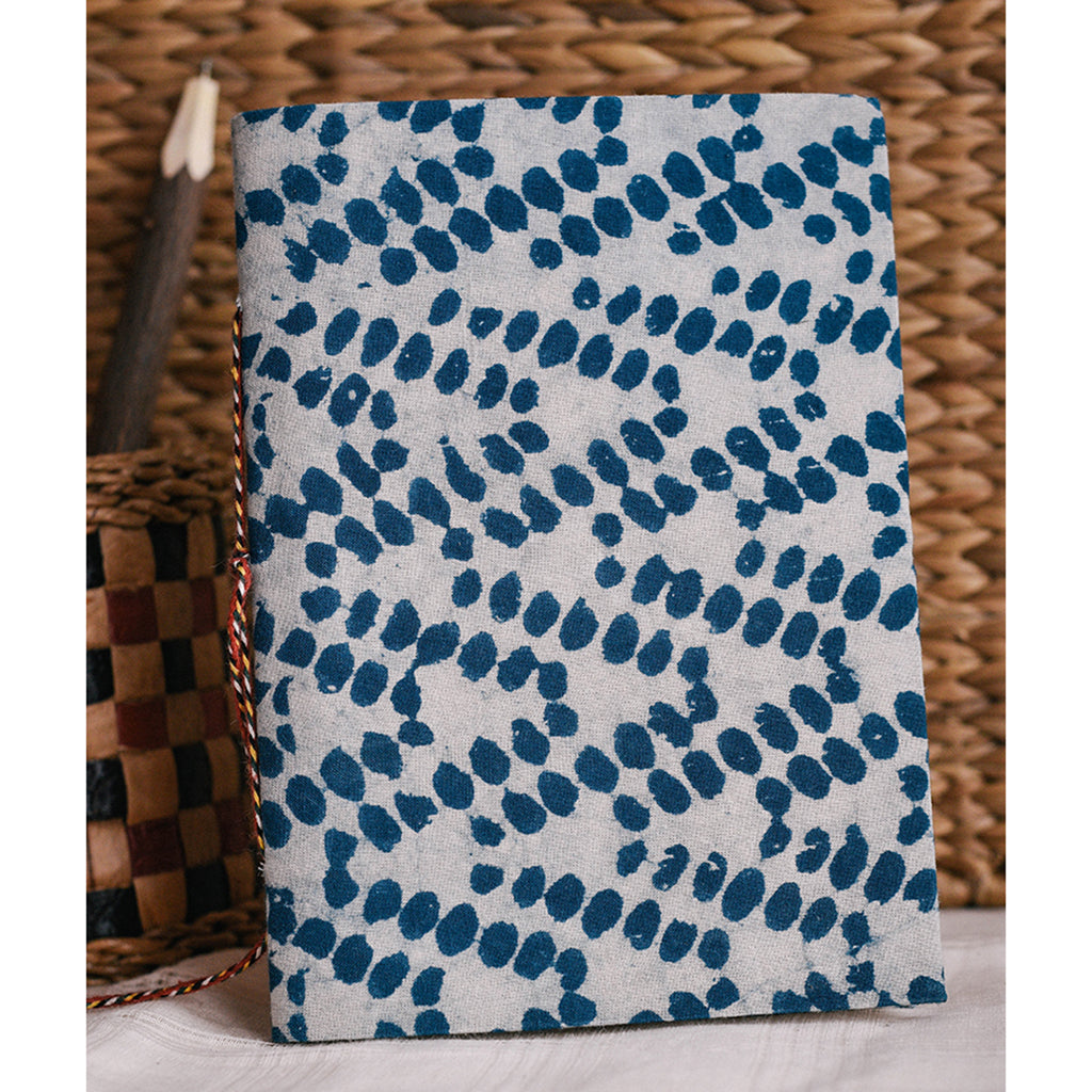 Handmade Notebook - Indigo Dots