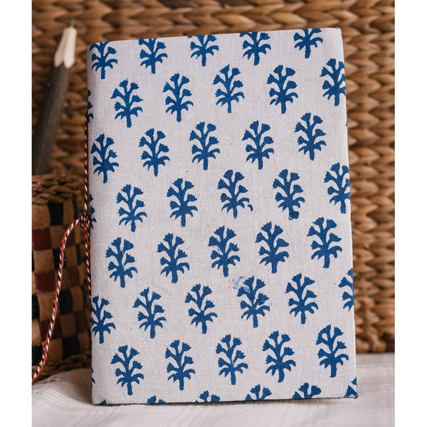 Handmade Notebook - White and Blue Print