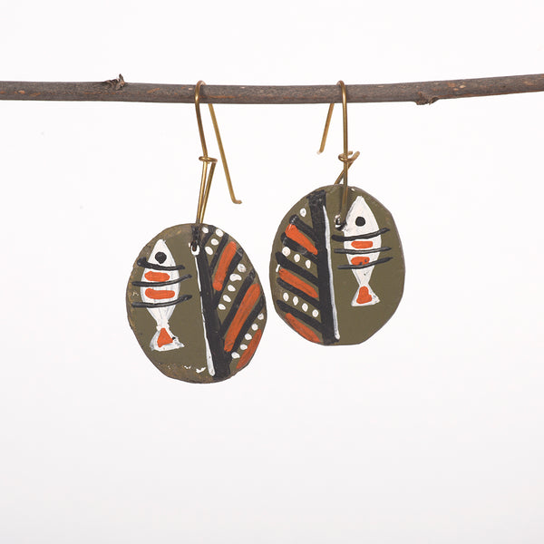 Hand painted Clay Earrings - Olive Green