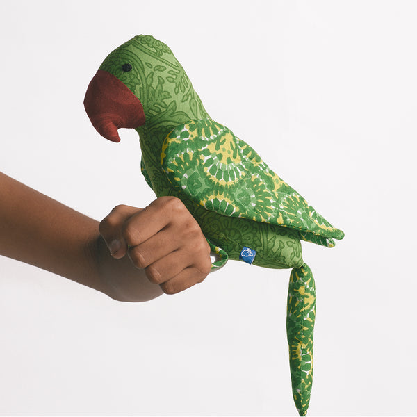Recycled Fabric Toy - Captain Parrot Green