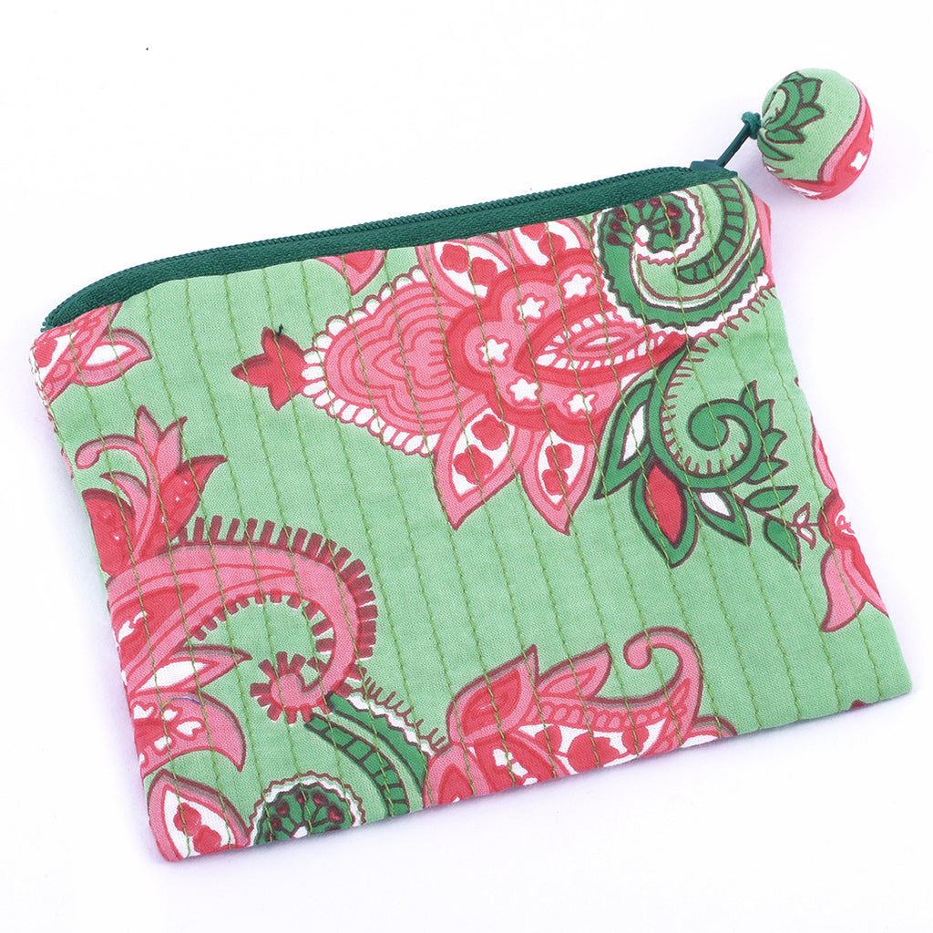 Quilted Coin Purse - Mint Green