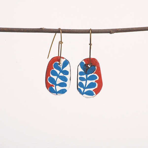 Hand painted Clay Earrings - Blue Fern