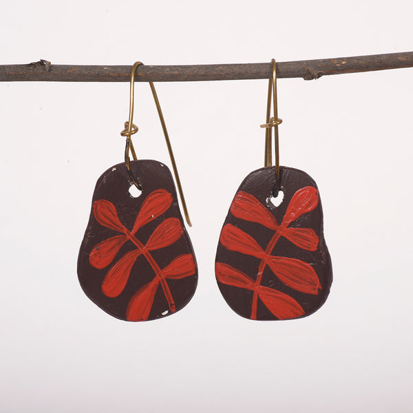 Hand painted Clay Earrings - Brownish Red